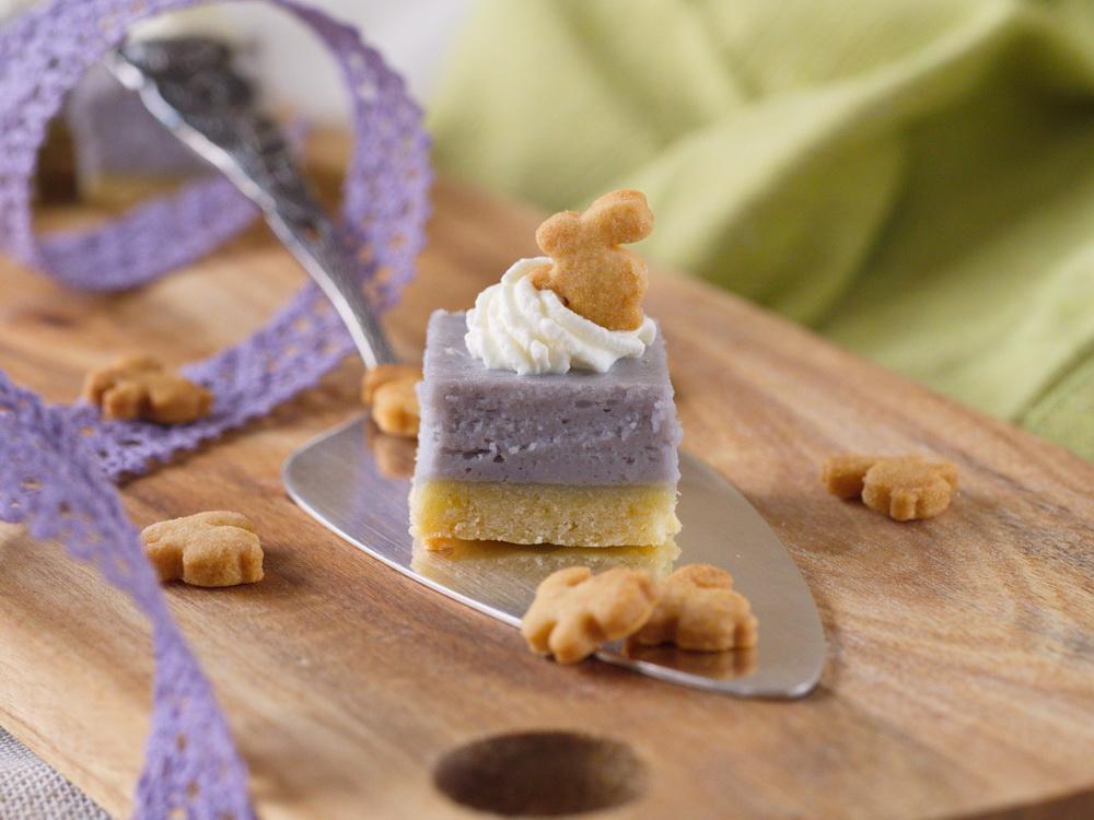 Lavendel-Cheesecake-Würfel