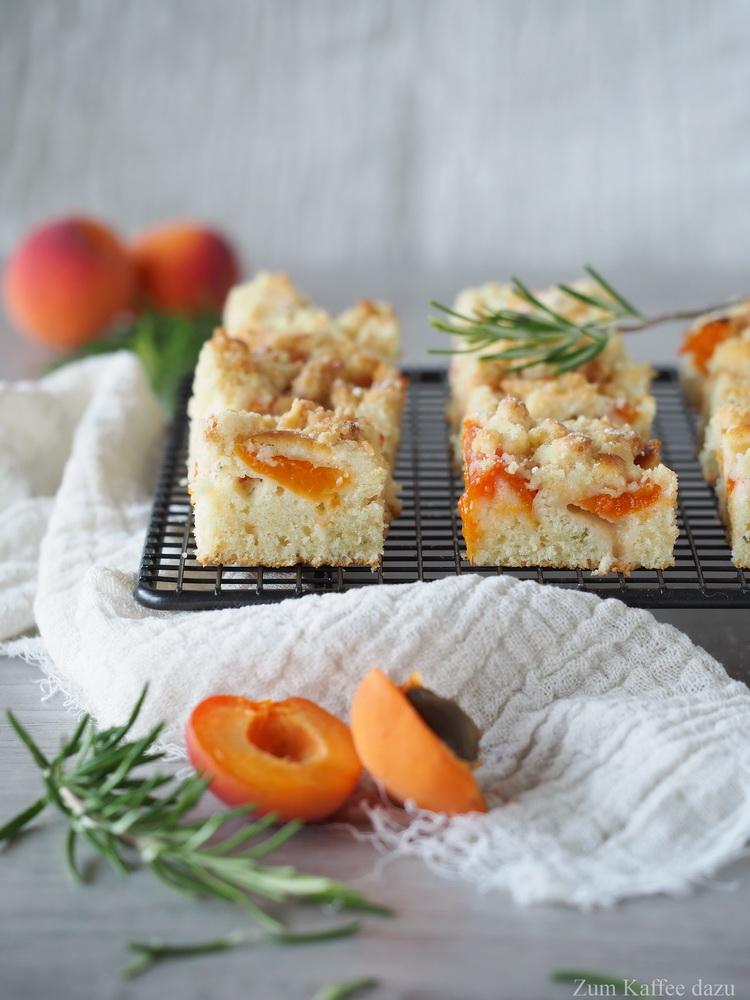 Aprikosenkuchen mit Rosmarin vom Blech